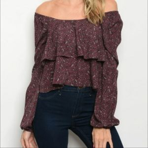 Gorgeous flirty cropped shoulder top